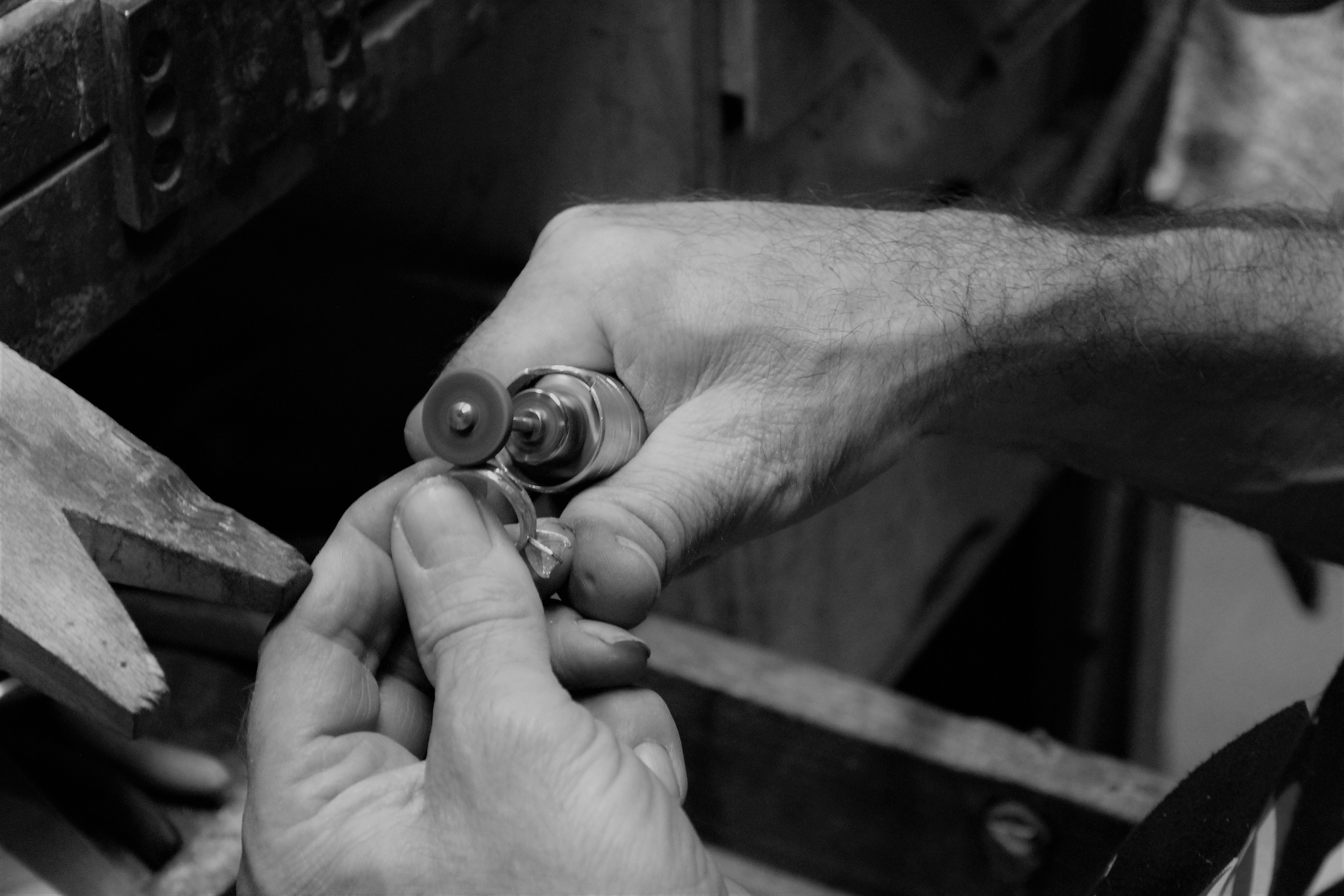 jeweler working on a ring